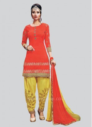 Cotton Silk Orange Patiala Suit with Lace Border