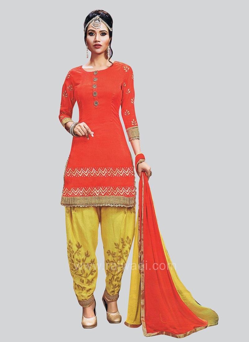 Cotton Silk Orange Patiala Suit with Lace Border