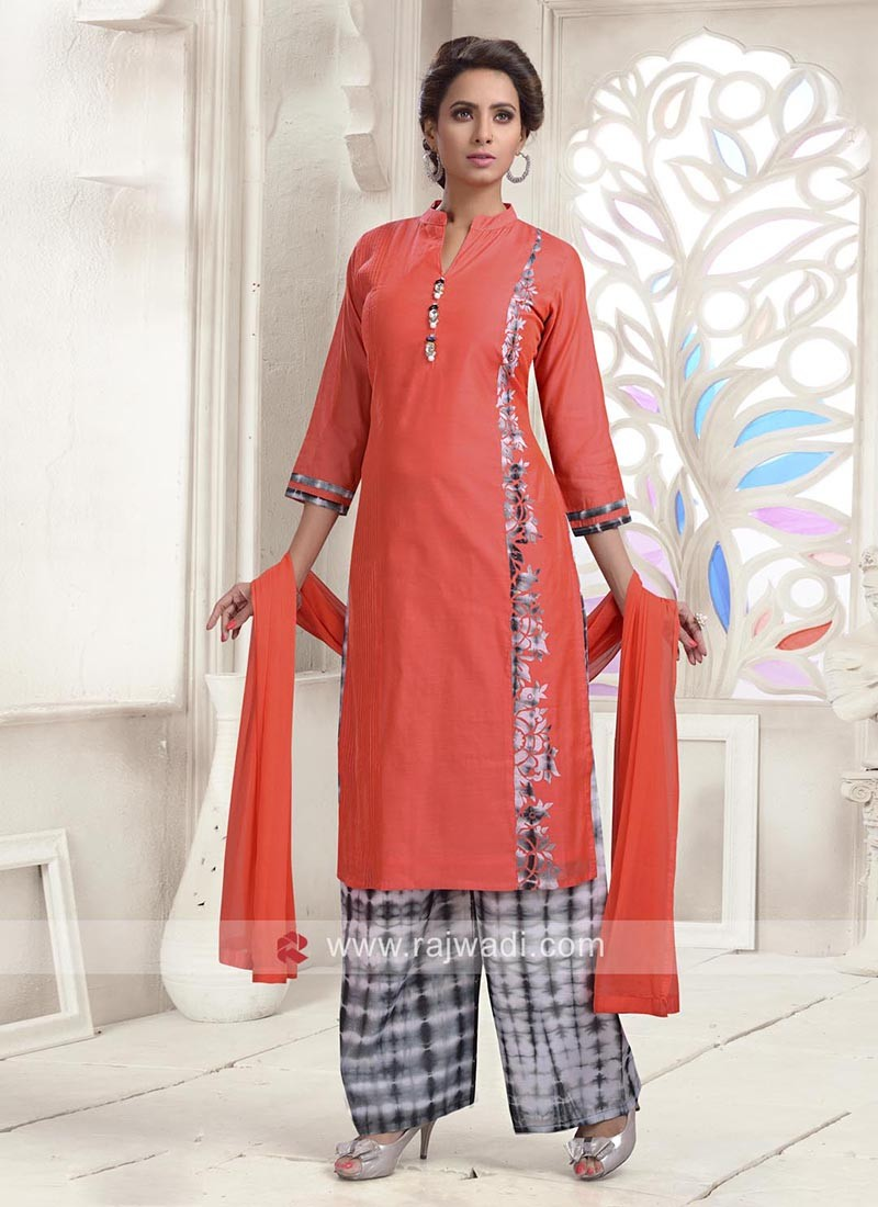 Cotton Silk Palazzo Kameez with Buttons