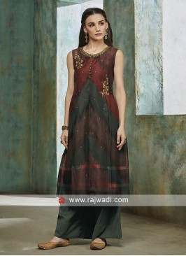 Cotton Silk Palazzo Suit For Party