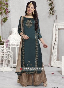 Cotton Silk Palazzo Suit in Bottle Green