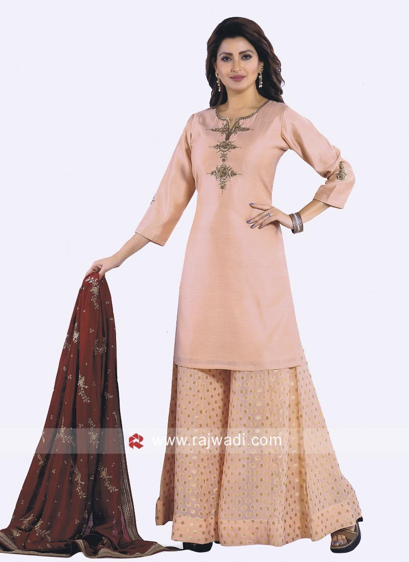 Cotton Silk Palazzo Suit in Peach