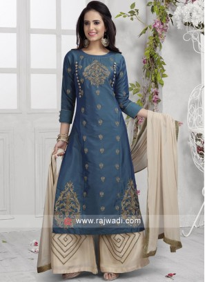 Cotton Silk Palazzo Suit in Peacock Blue