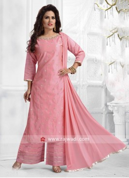 Cotton Silk Palazzo Suit in Pink