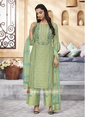 Cotton Silk Palazzo Suit in Pista Green
