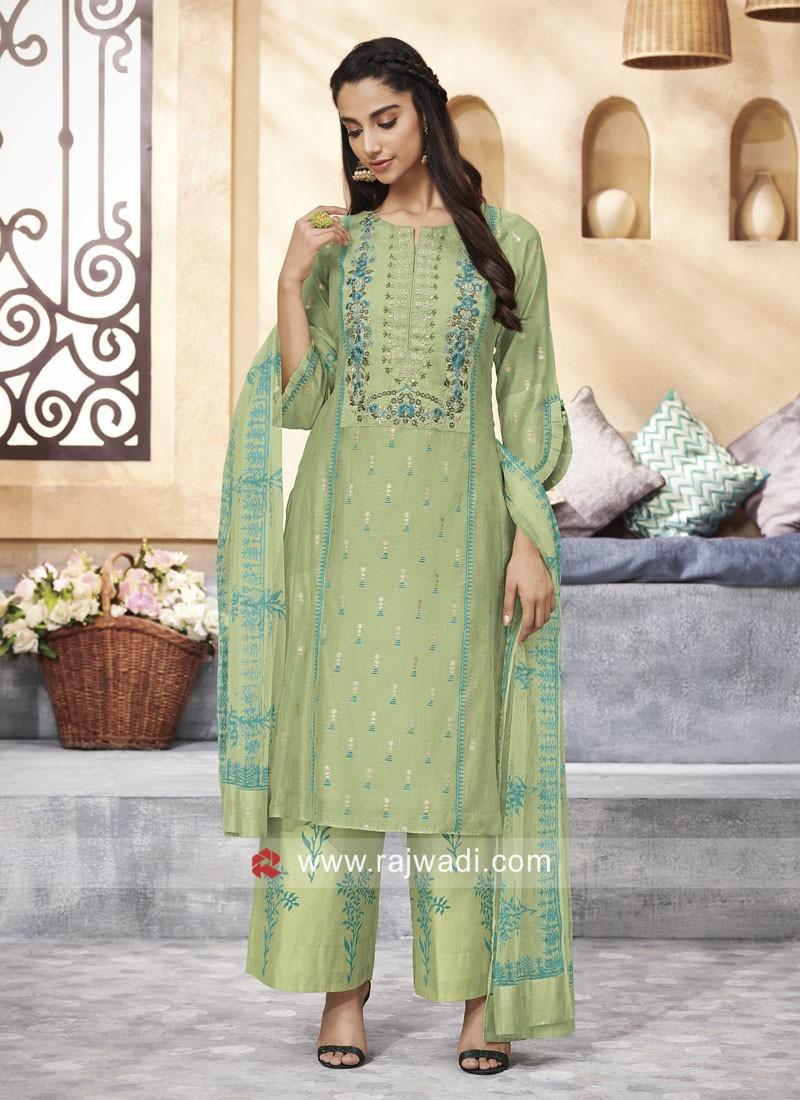 Cotton Silk Palazzo Suit in Pista Green