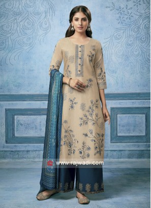 Cotton Silk Palazzo Suit in Skin