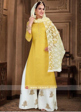 Cotton Silk Palazzo Suit in Yellow