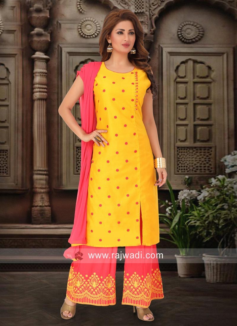 Cotton Silk Palazzo Suit with Fancy Button