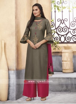Cotton Silk Palazzo Suit with Shaded Dupatta