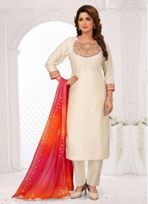 Cotton Silk Pant Style Suit In Beige Color