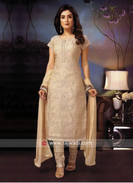 Cotton Silk Pant Style Suit in Cream