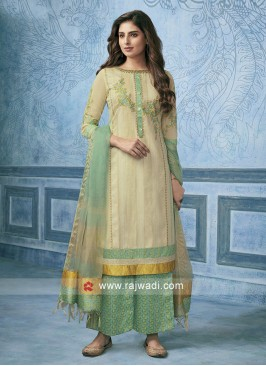 Cotton Silk Party Wear Palazzo Suit