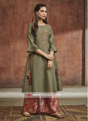 Shagufta Cotton Silk Party Wear Palazzo Salwar Suit