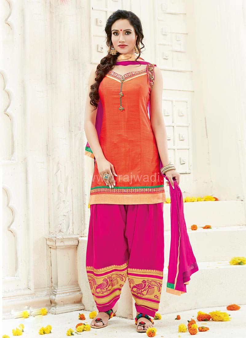 Cotton Silk Party Wear Patiala Suit