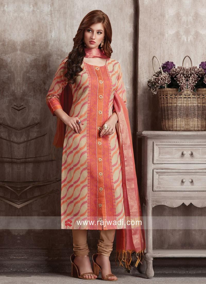 Dressline Cotton Silk Party Wear Suit