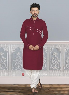 Cotton Silk Pathani Set