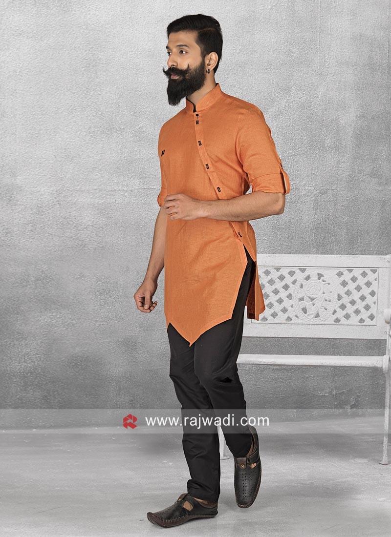 Orange Color Linen Pathani Suit