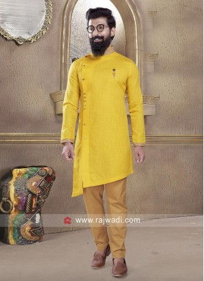 Stylish Yellow Cotton Silk Pathani Suit
