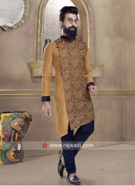 Cotton Silk Pathani Suit in Golden