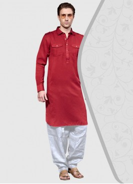 Cotton Silk Pathani Suit in Red