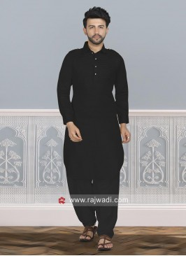 Cotton Silk Pathani Suit With Fancy Buttons