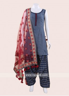 Cotton Silk Patiala Salwar Suit in Blue