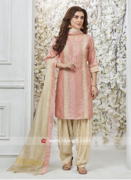 Cotton Silk Patiala Suit in Pink