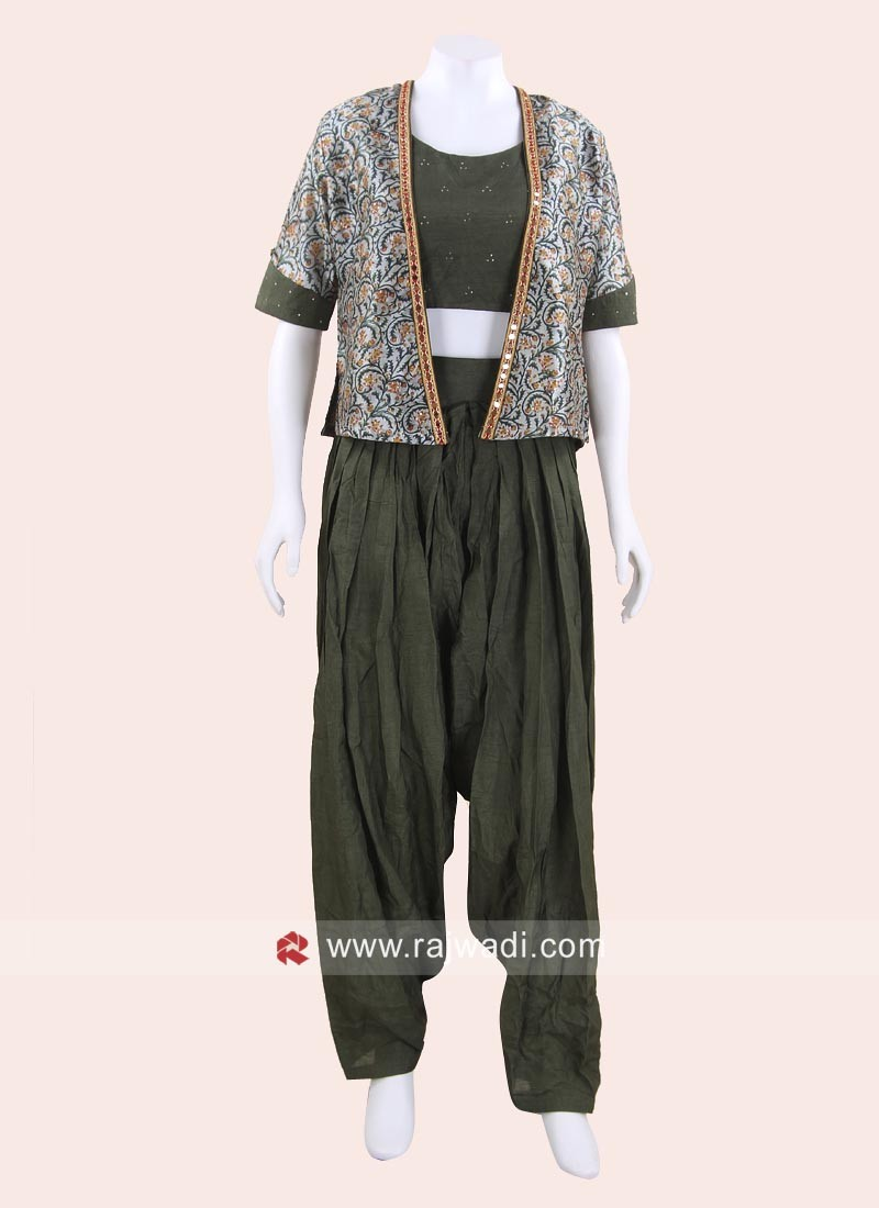 Cotton Silk Patiala Suit with Koti