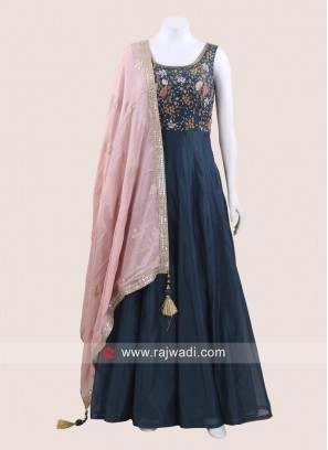 Cotton Silk Peacock Blue Anarkali Suit