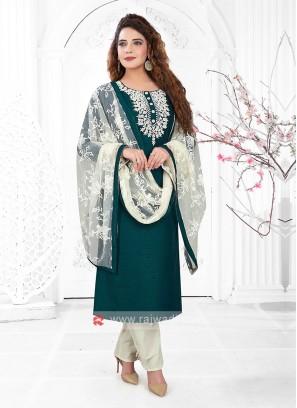 Cotton Silk Peacock Green Trouser Suit