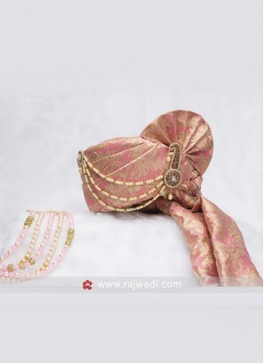 Cotton Silk Pink Brocade Safa