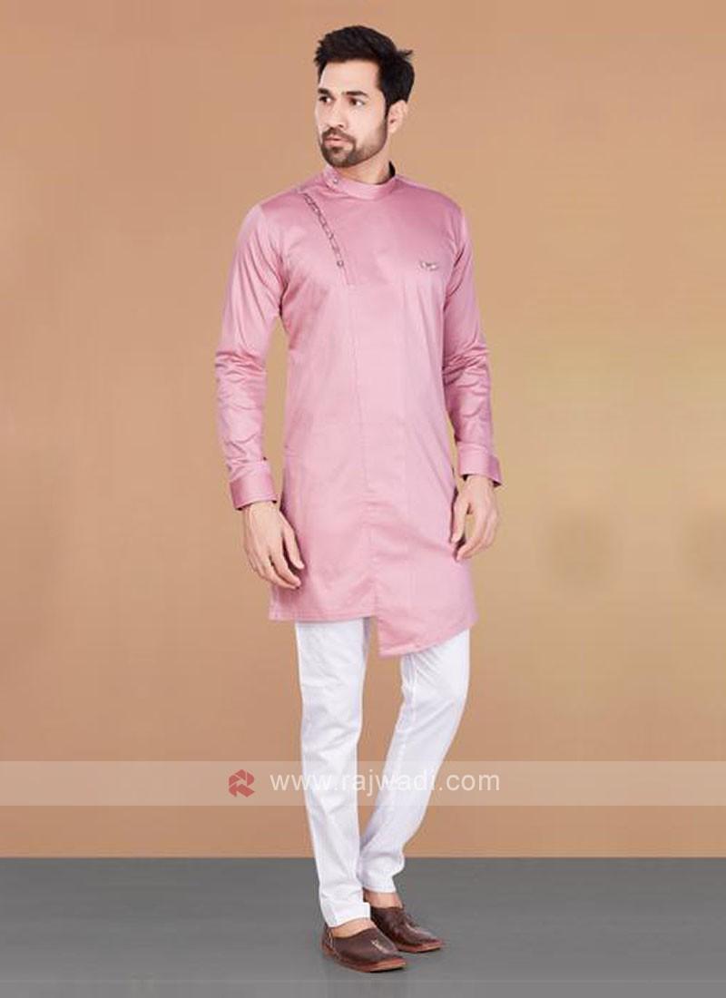 Cotton Silk Pink & White Kurta Pajama