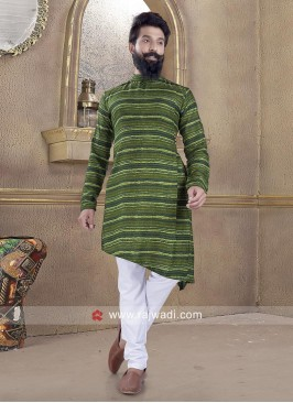 Cotton Silk Green Pathani Suit