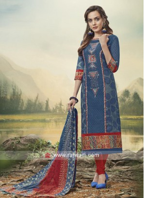 Cotton Silk Plastic Mirror Work Churidar Suit