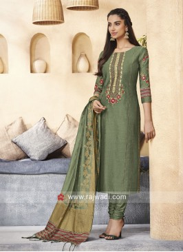 Cotton Silk Plastic Mirror Work Suit