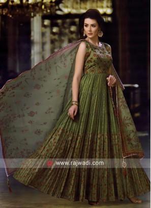 Cotton Silk Pleated Anarkali Salwar Kameez