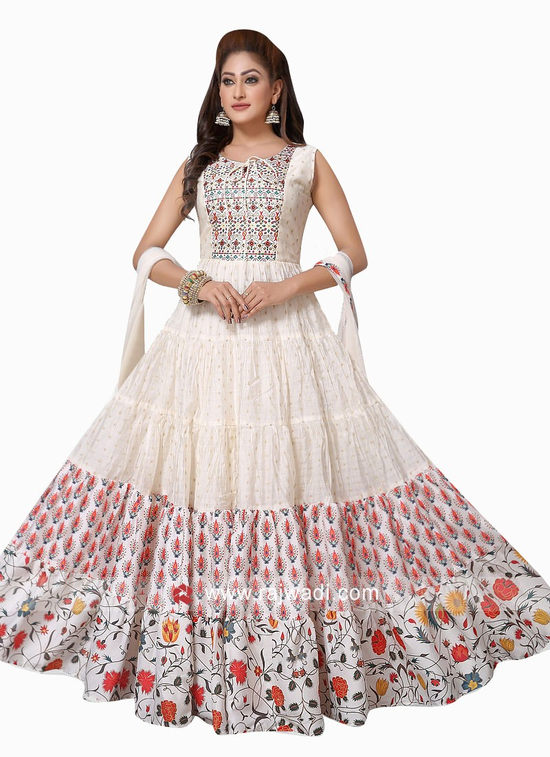 Cotton Silk Printed Anarkali Suit in Cream