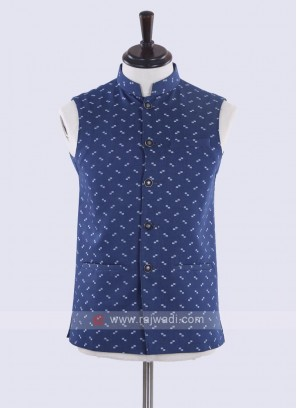 cotton silk printed blue nehru jacket
