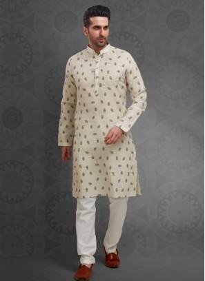 Cotton Silk Printed Kurta Pajama