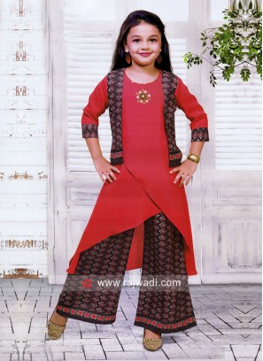 Cotton Silk Printed Palazzo Suit for Girls