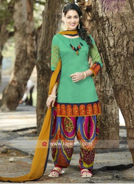 Cotton Silk Printed Patiala Suit
