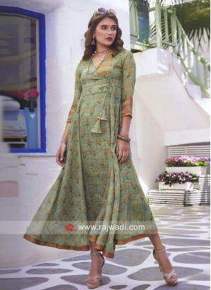 Cotton Silk Printed Semi Anarkali Kurti