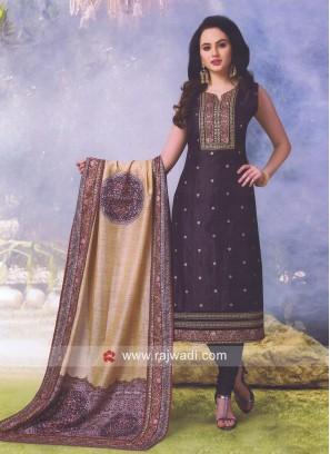 Cotton Silk Printed Straight Churidar Suit