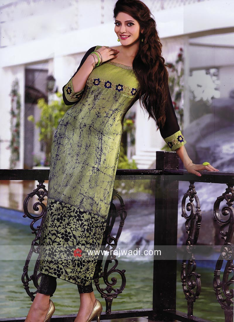Cotton Silk Printed Straight Fit Kurti