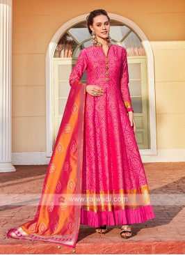 Cotton Silk Rani Color Anarkali Suit