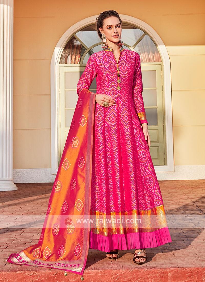 Cotton Silk Rani Color Anarkali Suit
