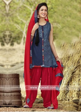 Cotton Silk Readymade Patiala Suit