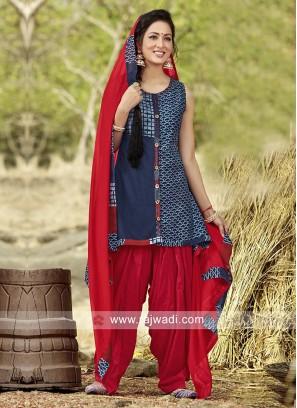 Cotton Silk Readymade Patiala Suit