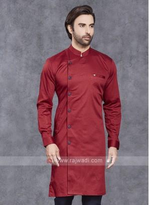 Cotton Silk Red Kurta